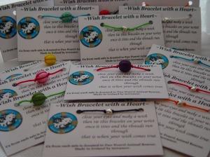 wish braceletd, howlite, hearts, bamboo cord, charity, terramor, paw pourri