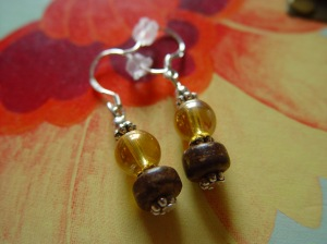 coco beads, upcycled glass beads, silver, earrings