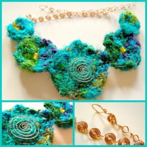 necklace, sari silk, crochet, coil, collage, copper, jewellery, jewelry, blue, green